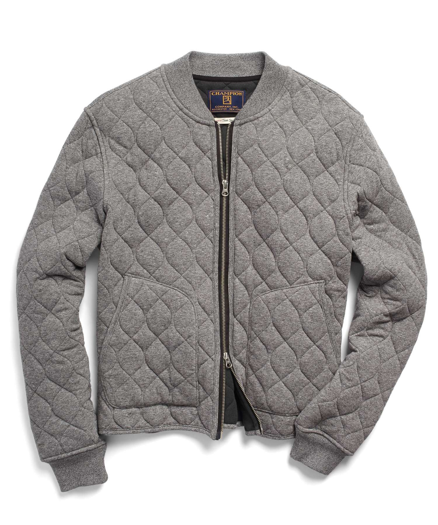 Quilted Bomber Jacket In Heather Grey Quilted Bomber Jacket Mens Sweatshirts Hoodie Quilted Bomber
