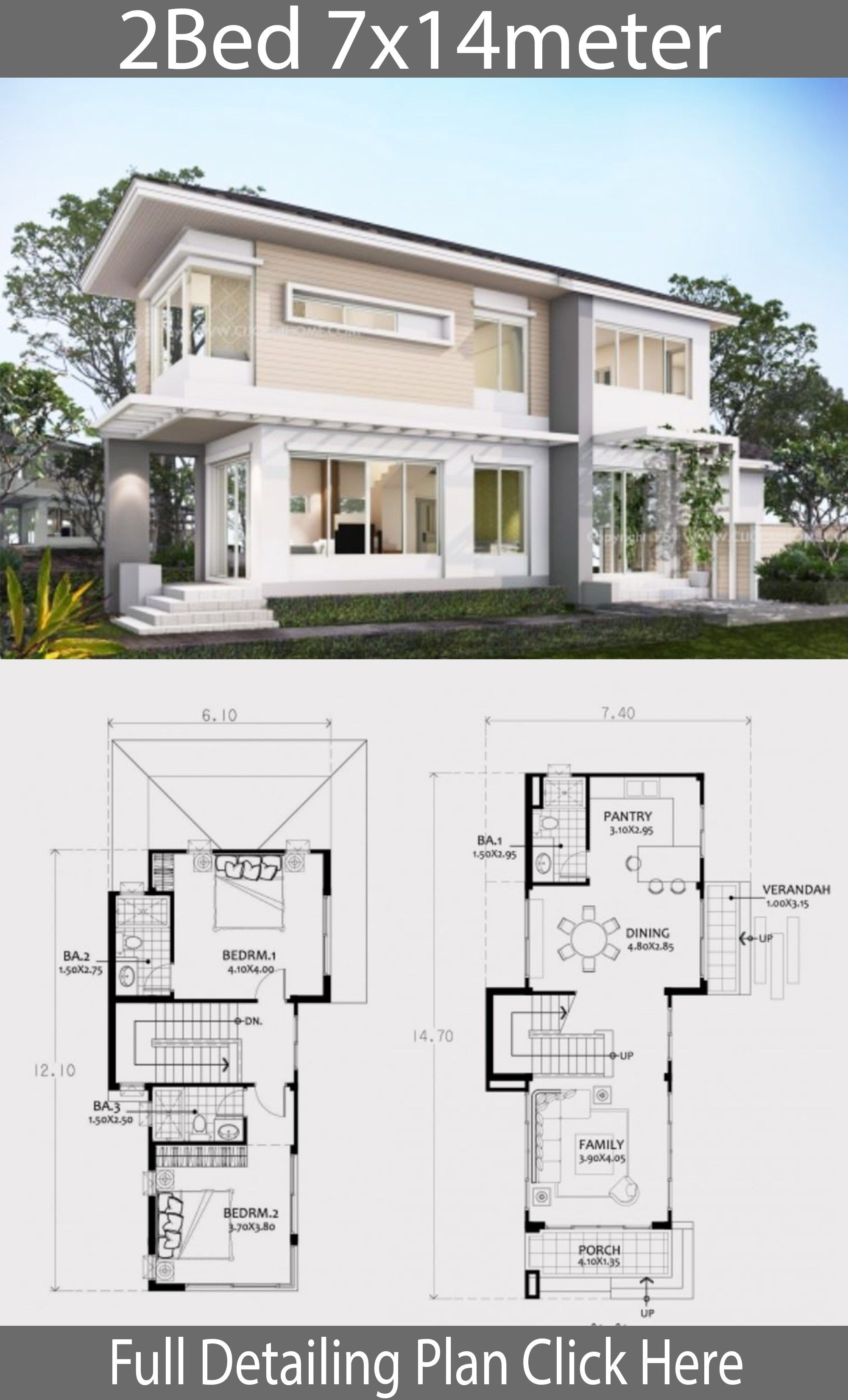 Small Two Story House Plan 7x14m Home Design With Plan Beautiful House Plans Two Story House Plans House Outside Design
