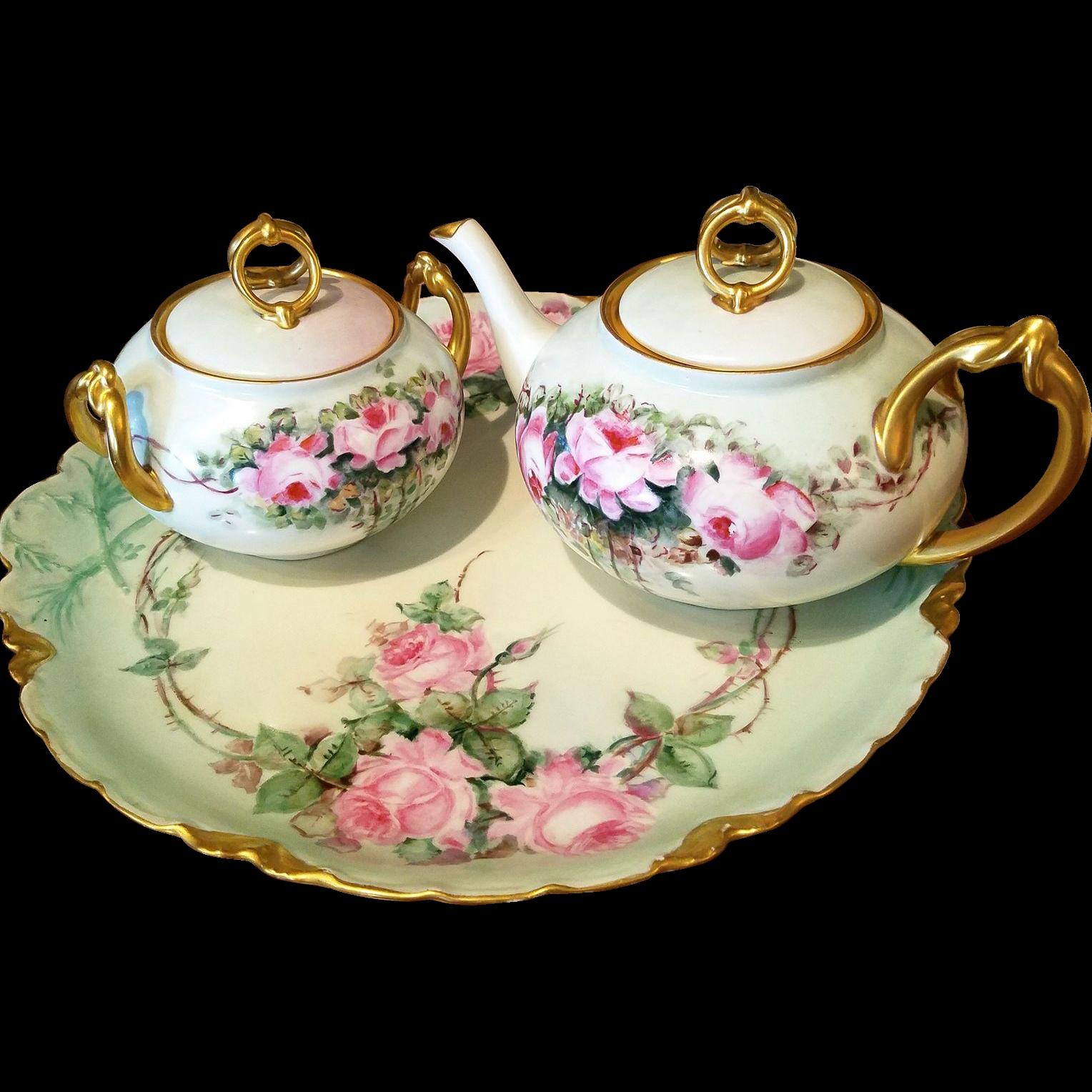Limoges Hand Painted Rose Tea Pot Sugar Bowl Set, Favorite