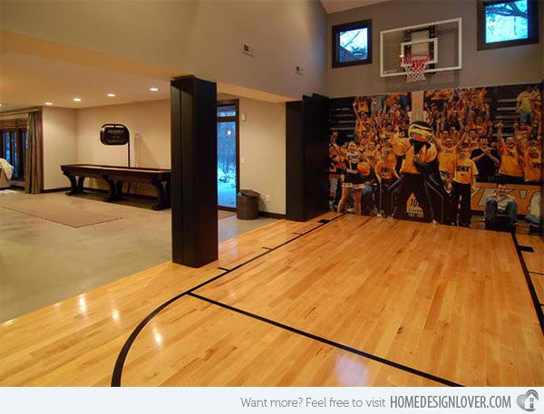 15 Ideas For Indoor Home Basketball Courts Home Design Lover Home Basketball Court Basketball Court Backyard Finishing Basement