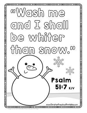 Free Bible Verse Coloring Pages For Winter Snow Preschool