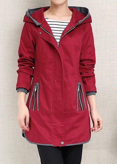 Long Sleeve Hooded Collar Red Coat on sale only US$47.82 now, buy ...