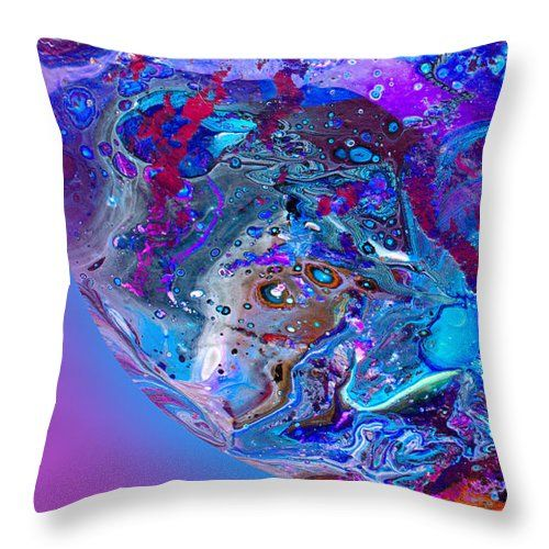 Intense Texture Vibrant Colors Underwater Effect. Wild Patterned Abstract.poured Acrylics.blue And Purple Dominate Throw Pillow featuring the painting #124 Undersea Pour by Expressionistart studio Priscilla Batzell