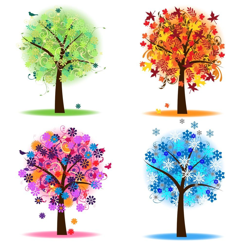 Four Seasons Trees Clipart Clip Art, Spring Summer Winter Fall ...