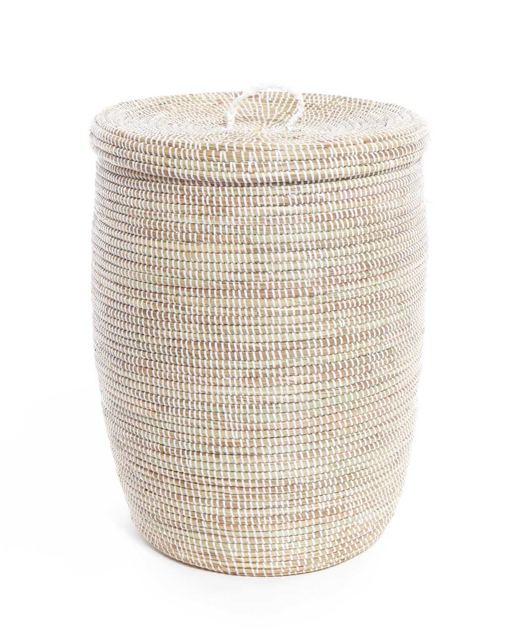 Handwoven Grass Recycled Plastic Tall Hamper Fair Trade White