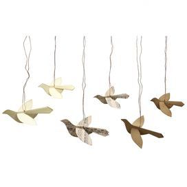 """Perfect as a stocking stuffer or stand-out holiday swap gift, this lovely design is perfect for the decorating aficionado on your list.          Product: 6 Piece ornament set    Construction Material: Paper    Color: Tan and white   Features:  Contemporary style    Will enhance any décor   Dimensions: 4.25"""" - 6"""" W each            -->"""