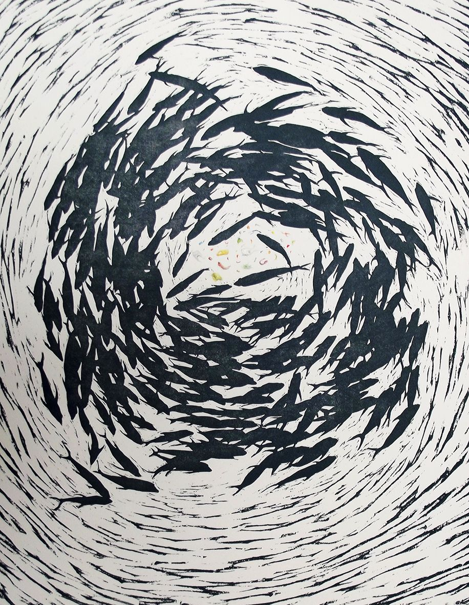 Denise Copland, All at sea – fish food II (2015), 1/1 woodblock, ink & graphite, 775x530mm $960