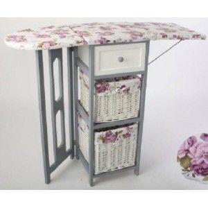 Mueble de plancha madera y mimbre plegable con 3 for Mueble plancha plegable