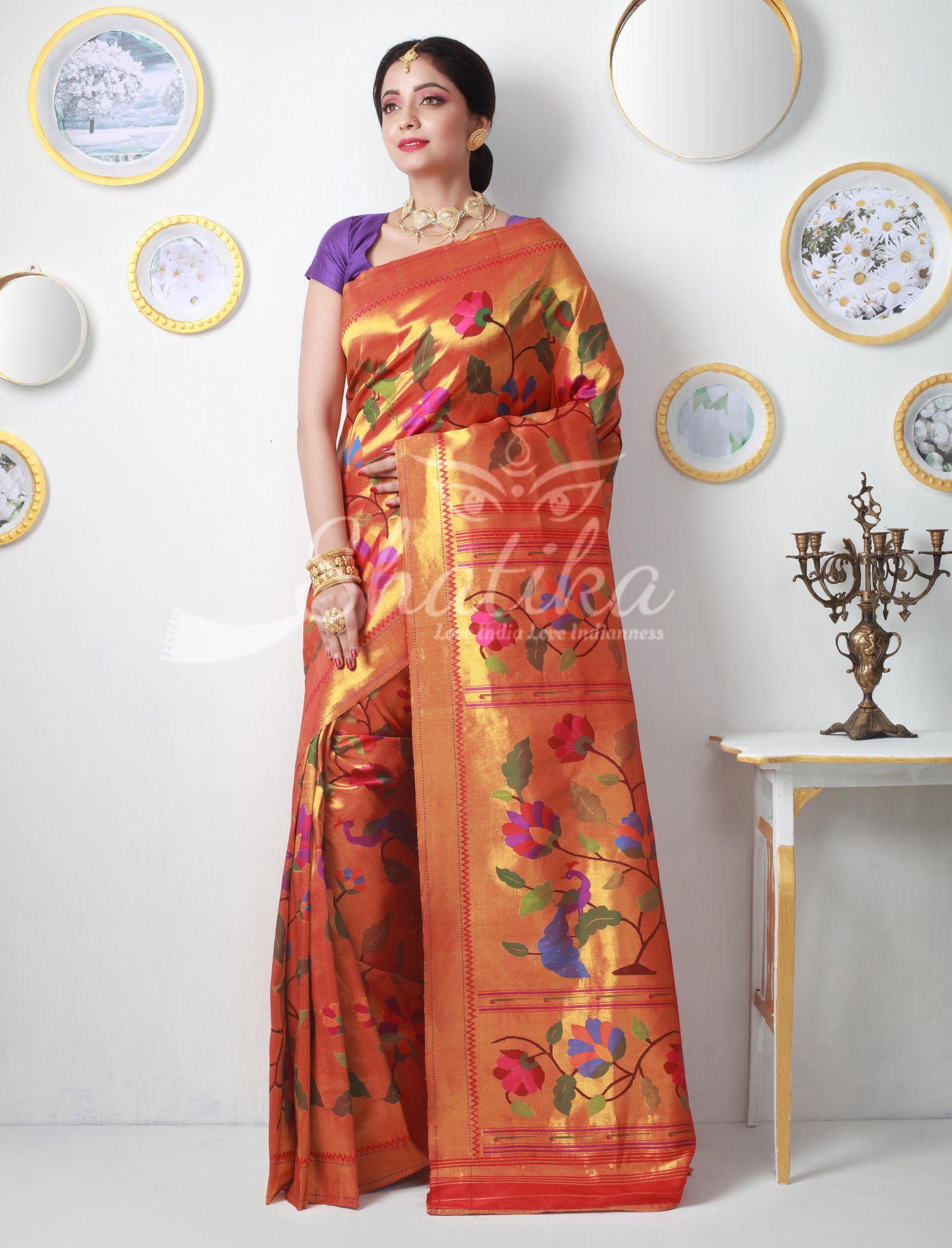 6036b3f1516ee Putalabai Dazzling Golden Glow Gold Zari Double Turning Paithani Silk Saree