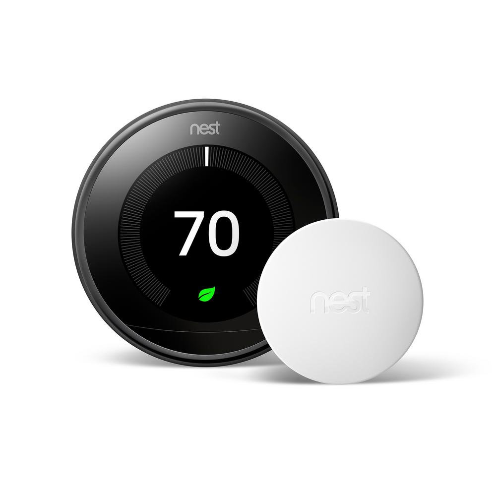 Google Nest Learning Thermostat 3rd Gen In Mirror Black And Google Nest Temperature Sensor Vbd3mbkr2018 The Home Depot In 2021 Nest Learning Thermostat Nest Learning Google Nest Thermostat