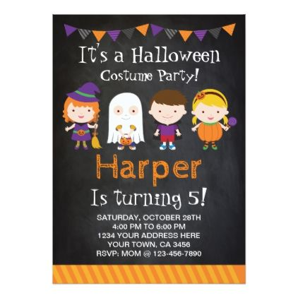 Halloween Birthday Invitation Costume Party Card