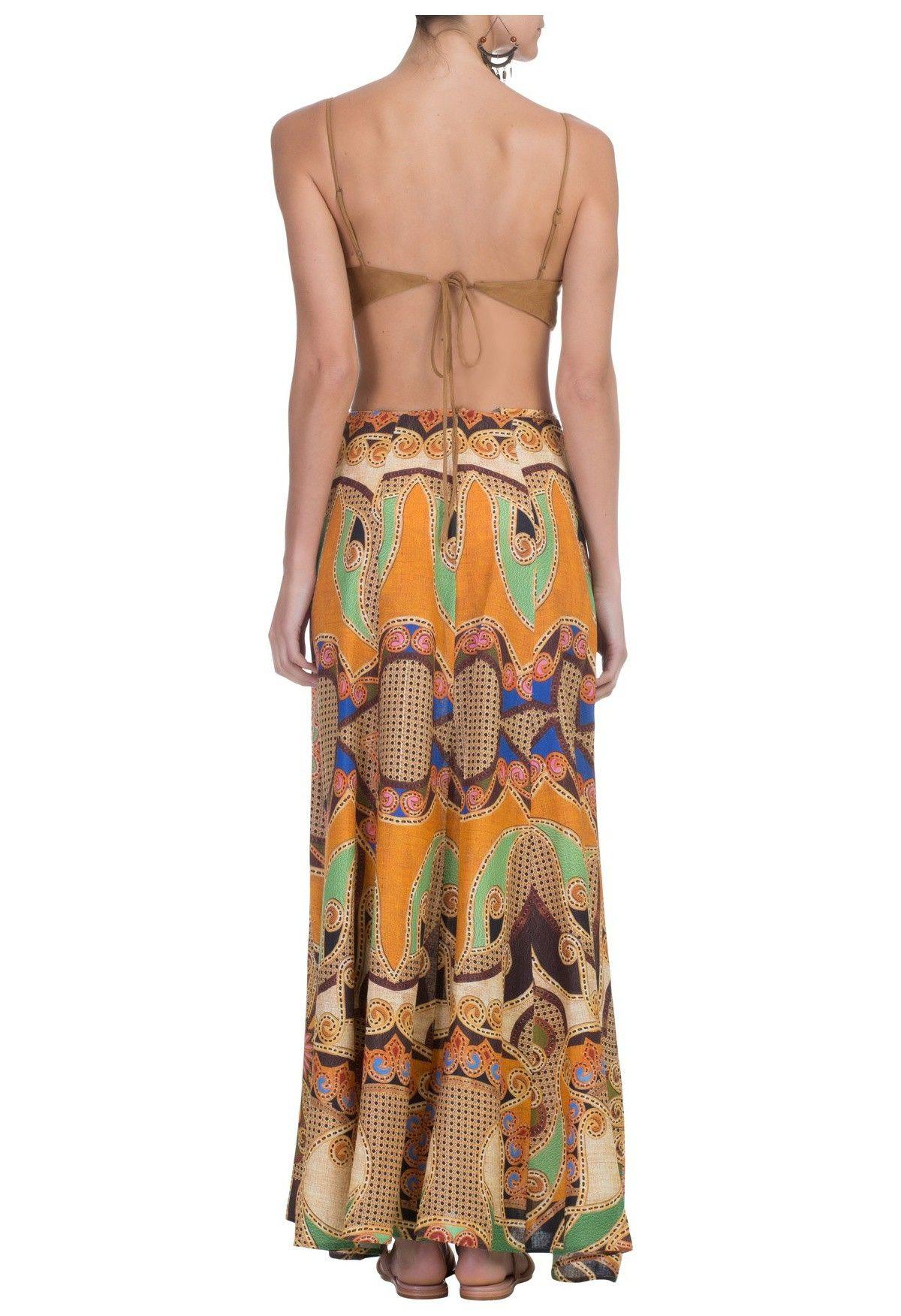 5390bbb03 FARM - Vestido longo Nova Olinda - marrom - OQVestir