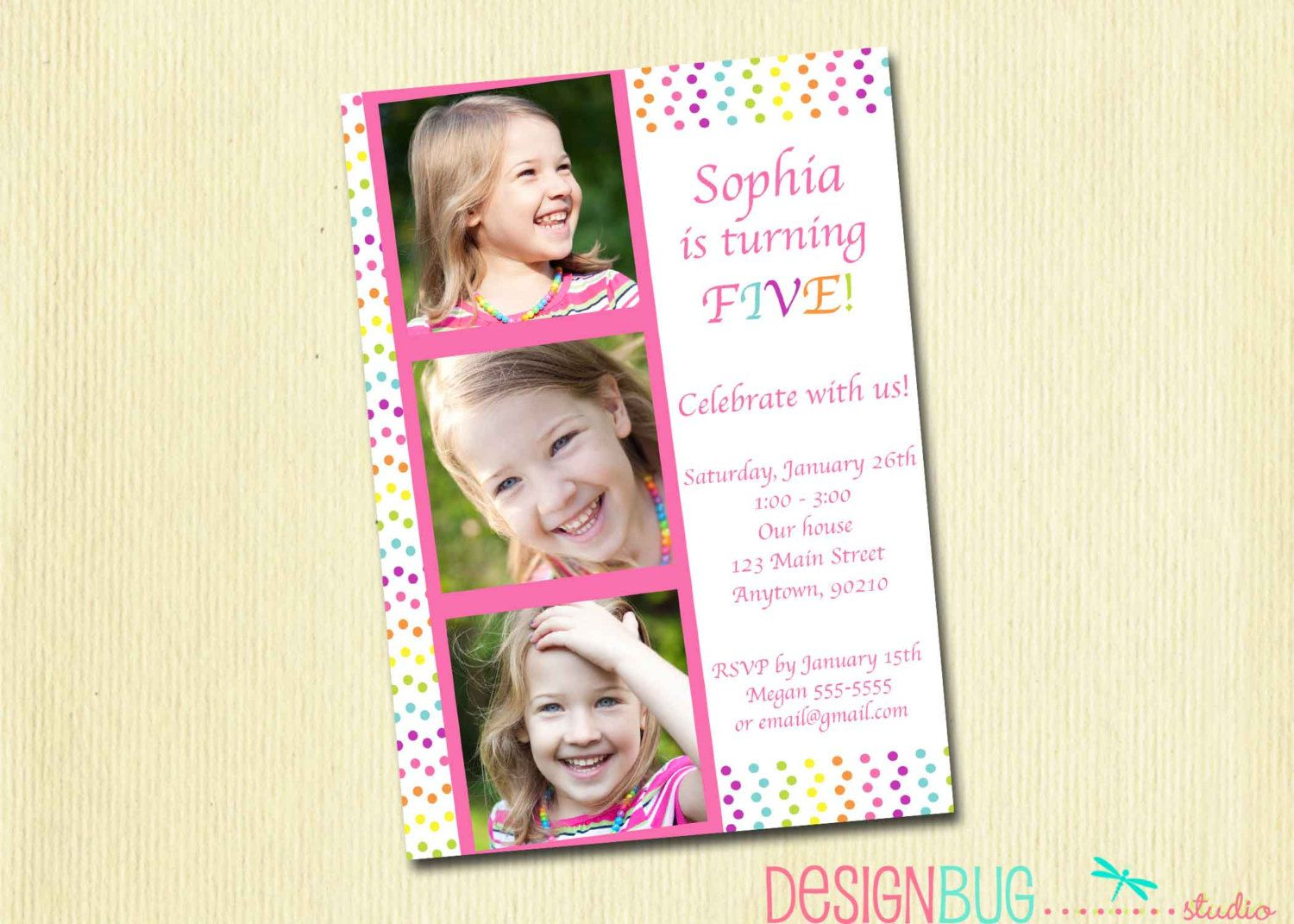 Girls Rainbow Polka Dot Birthday Invitation Custom Photo – 3 Year Old Birthday Invitation