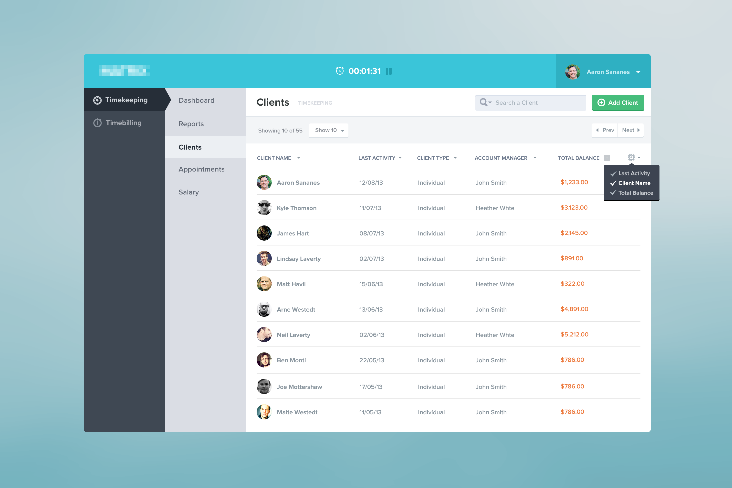 Clients dashboard found on dribbble user interface for Table design jquery ui