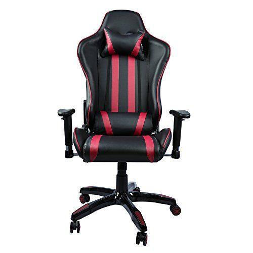 Fauteuil Gamer Racing Inclinable 4D Accoudoirs Reglable Chaise Bureau Gaming Noir Avec Appui Tete Oreiller De Taille Ergonomique Similicuir Pour