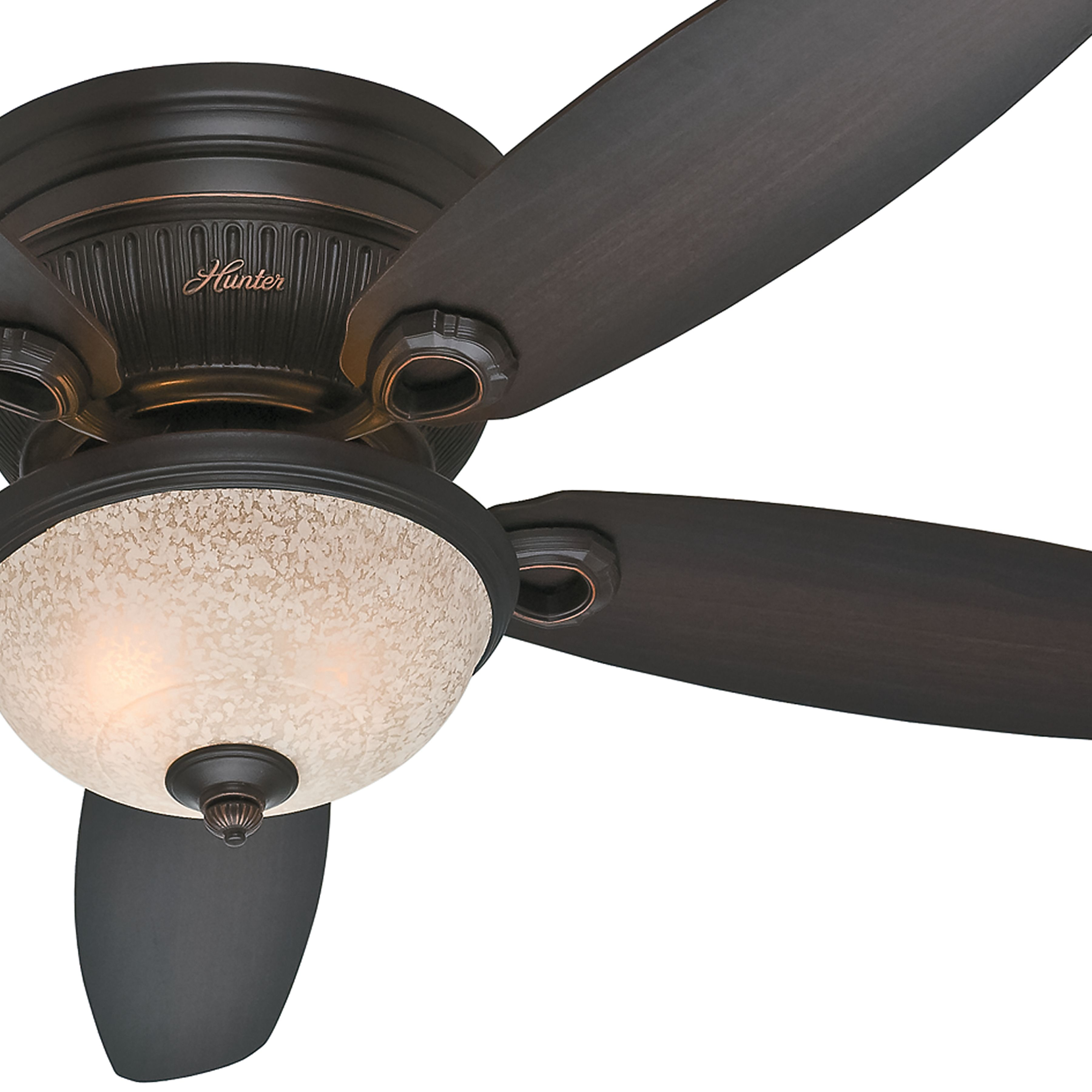 Hunter 52 Inch onyx bengal finish low profile Ceiling Fan with