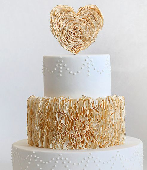 Ruffled Heart Cake Topper by @Tessa McDaniel Lindow Huff- Style Sweet CA - my post on modern chic cake toppers!