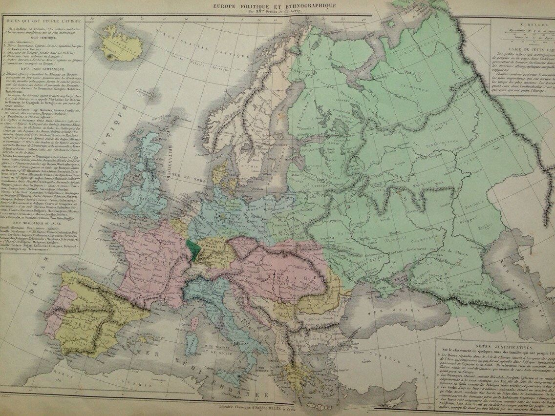 Map Of Wurope%0A      Races that people Europe  large original antique map  Geography   Cartography  Historical