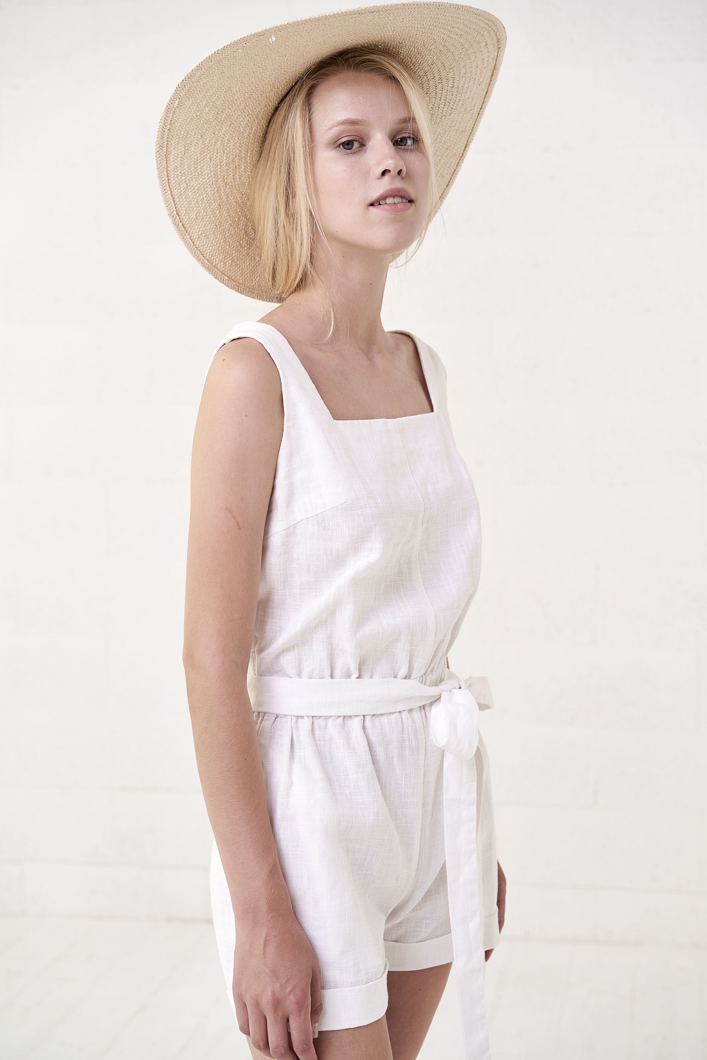b7e8552dce  Linen  jumpsuit Women overall Linen shorts romper Linen clothing  Short  White Sleeveless Linen romper  madeinlithuania  summerjumpsuit  blisslinen  ...
