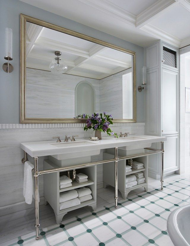 flooring ideas for small bathrooms%0A In the master bath  the texture of a flutedmarble detail creates contrast  against seamless wall niches and inlaidtile flooring highlighted by  semiprecious