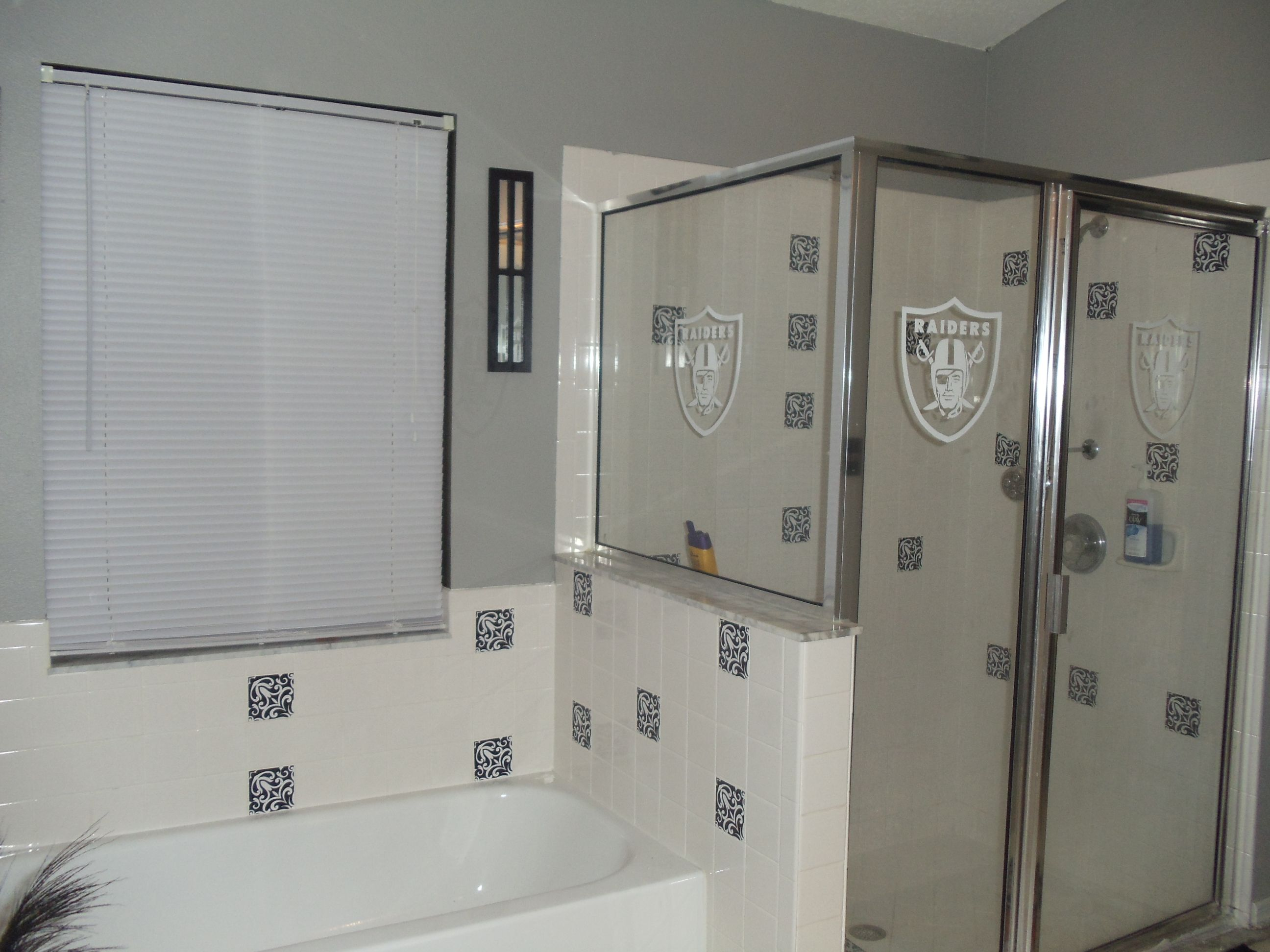 Raiders Bath   Black Decals Were Put On With Tile Decals From Amazon   Very  Easy