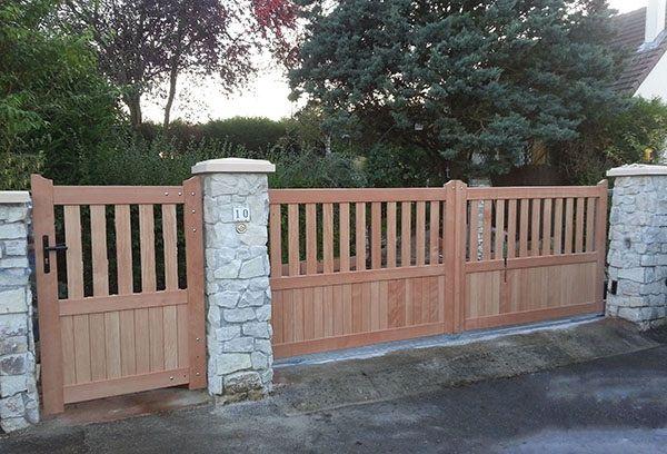 Portail en bois exotique ou bois Epicea THY Modèle coulissant - reparation de porte en bois