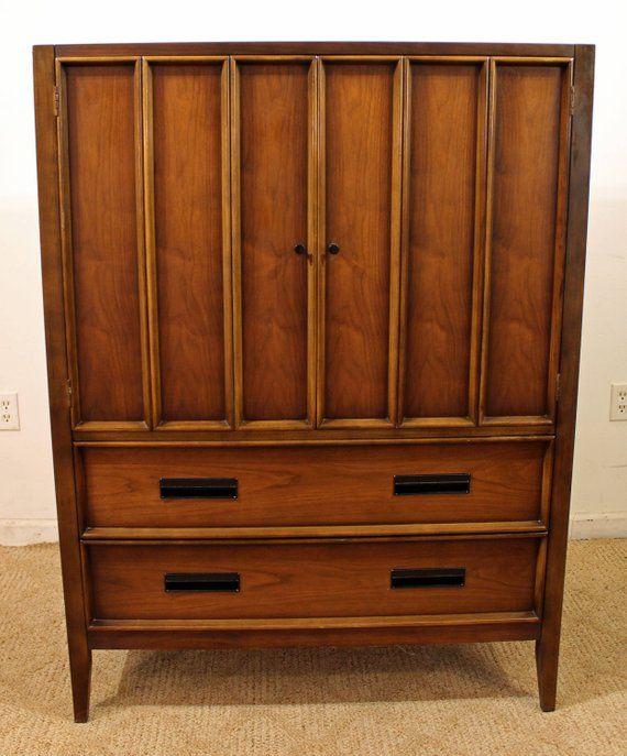 mid century tall chest by drexel paragon walnut armoire 16 etsy rh pinterest com