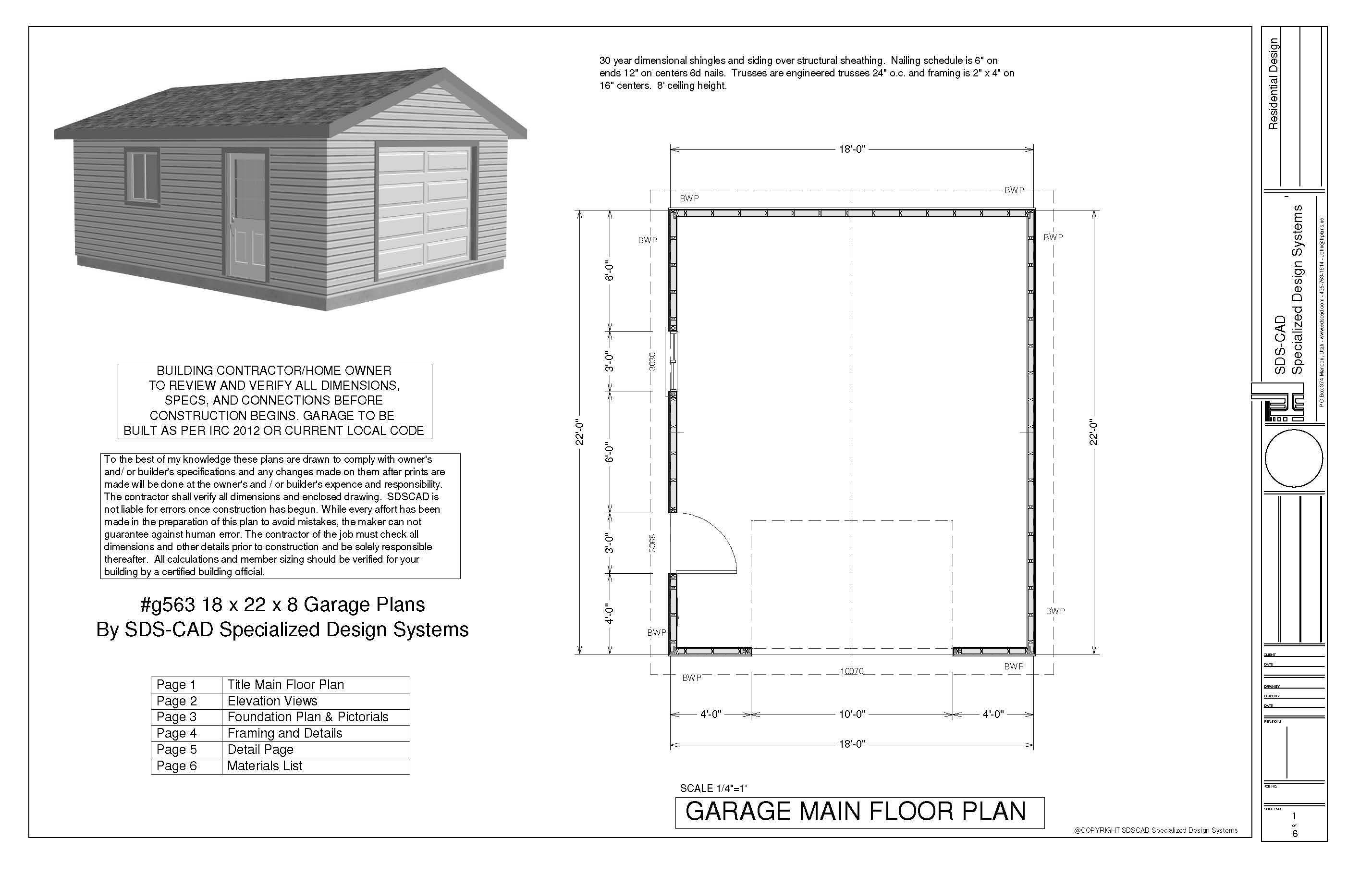G563 18 x 22 x 8 garage plans in pdf and dwg garage for Pole barn plans pdf