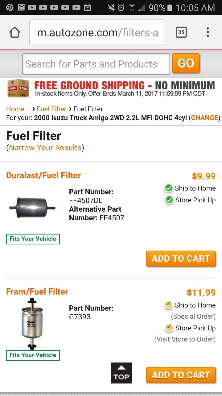 3/3/2017 2000 Isuzu Amigo Fuel Filter at Auto Zone in Sulphur $9.99