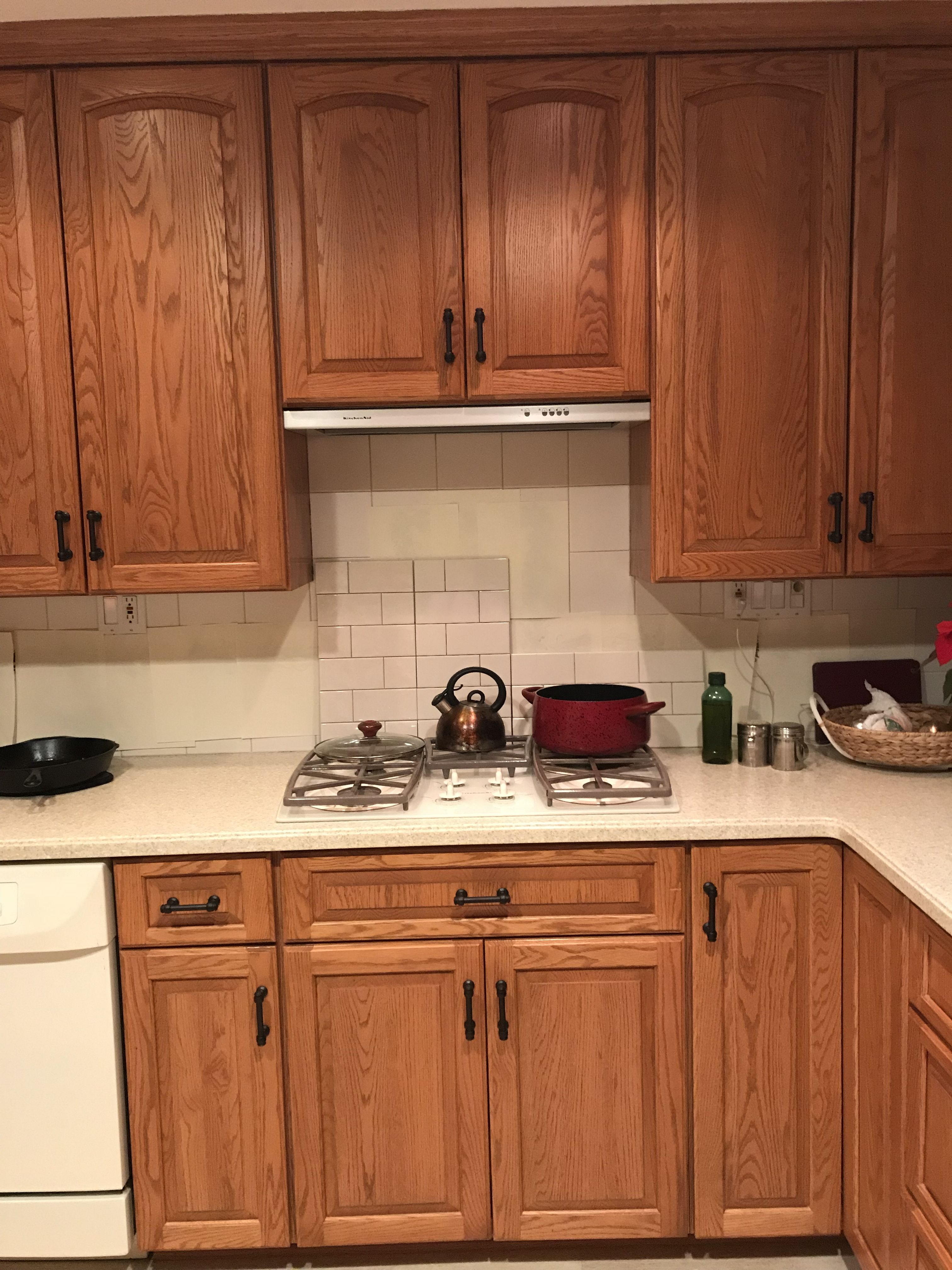 Updating Oak Cabinets With Restoration Hardware Lugarno Pulls In Bronze Next Up New Faucet Subway Kitchen Remodel Kitchen Remodel Cost Kitchen Decor Modern
