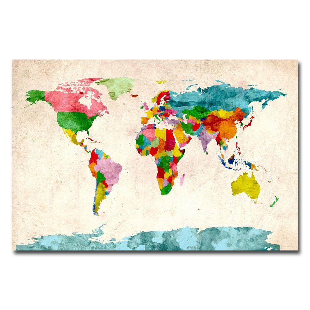 Michael tompsett watercolor world map canvas art overstock michael tompsett watercolor world map canvas art overstock gumiabroncs Choice Image