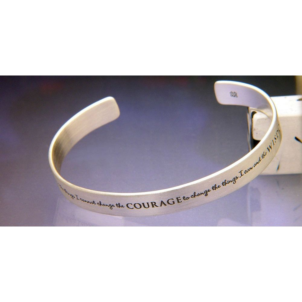Sterling Silver Inspirational Cuff Bracelet Serenity Prayer Clothed With Truth