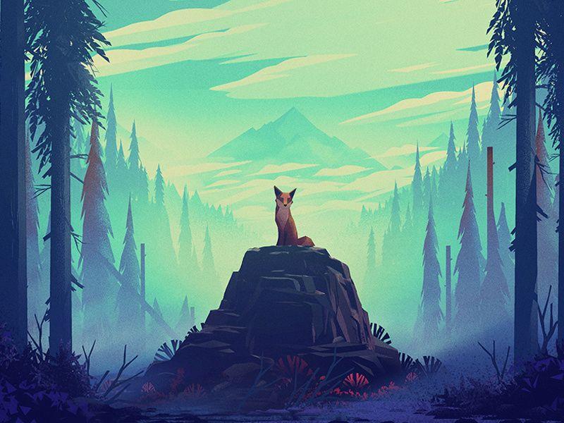 Fox 2 Mountain Forest Trees Environment Fox Fox Art Abstract Wallpaper Backgrounds Art