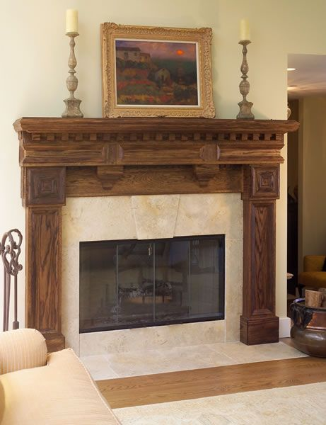 a rustic wood mantel with distressed limestone surround home rh pinterest com