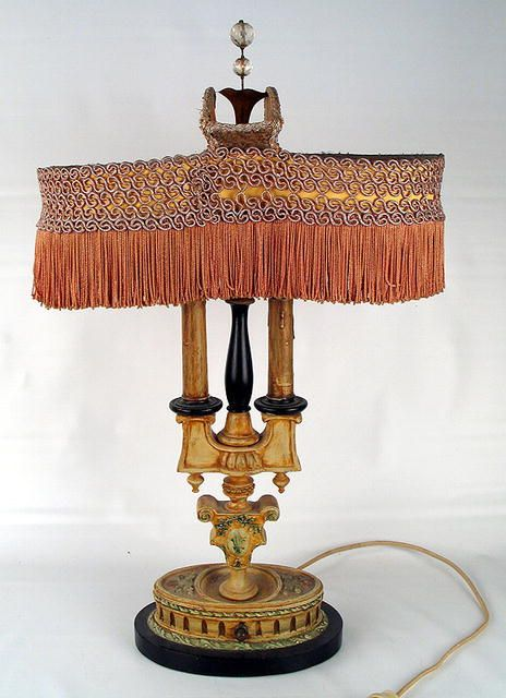 GOOD LATE VICTORIAN TABLE LAMP FRINGE AND GREAT SHADE Antique Table Lamps, Victorian  Table Lamps