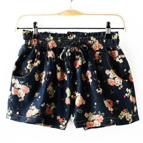 Fashionable Rose Print Drawstring Waist Women's Denim Shorts