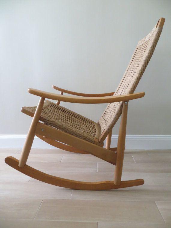 Woven Rocking Chair Fishing Bed Topper Reserved Mid Century Modern Danish Rope Hans Wegner Style Rocker