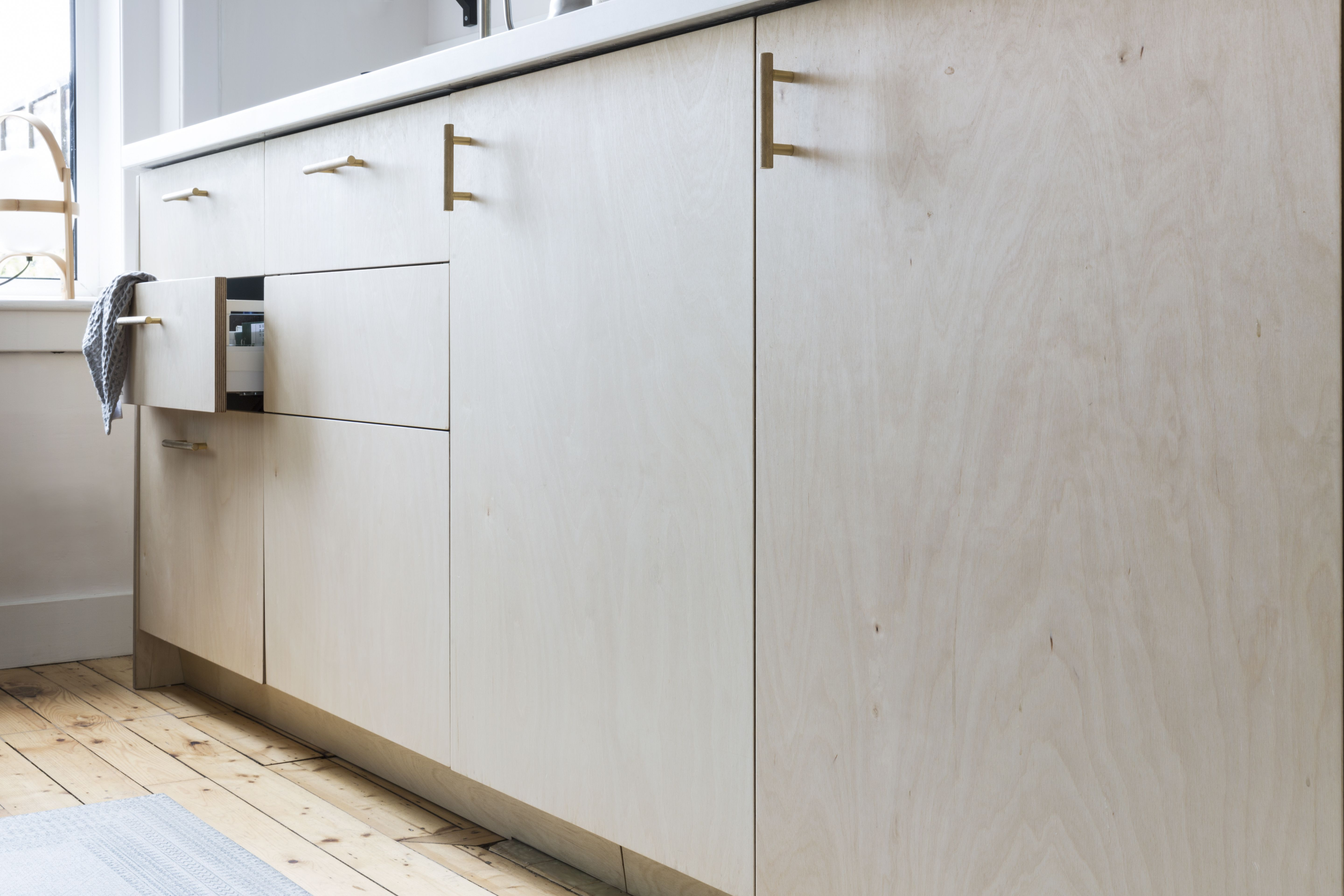 birch plywood and brass kitchen custom fronts and ikea cabinets rh in pinterest com