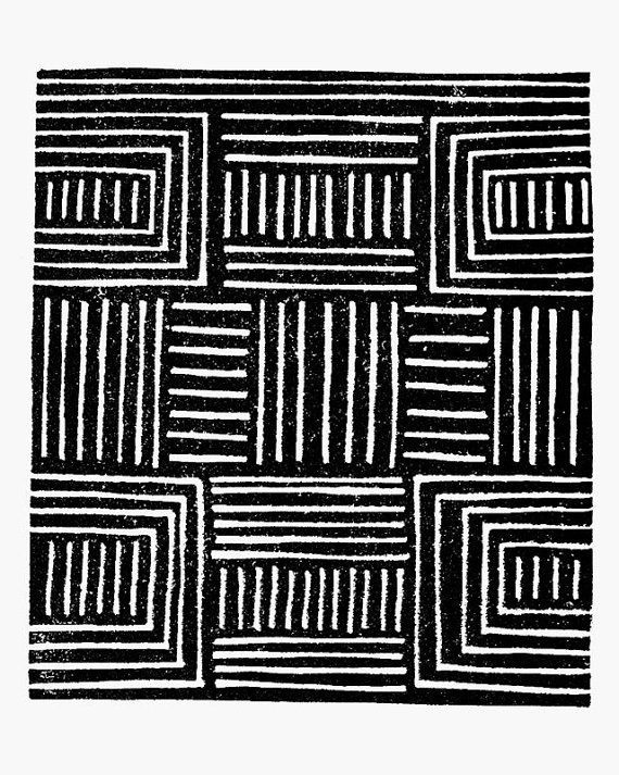 African pattern handmade art print black four rows two the same similar pattern through out