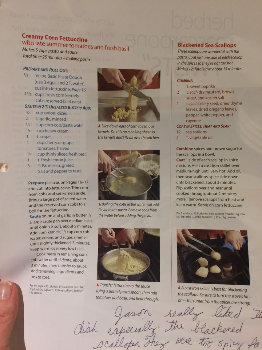 Creamy corn fettuccine