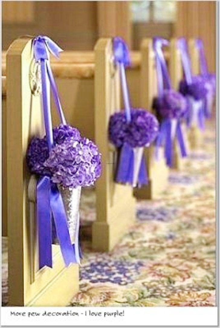 Purple Church Flowers Wedding Decorations Church Wedding