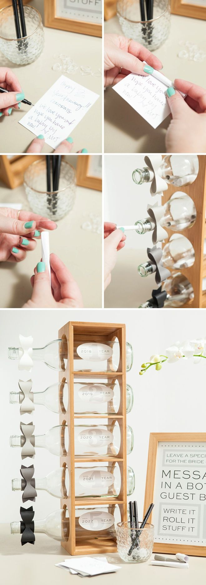 Scrapbook guest book ideas - Awesome Idea For A Diy Message In A Bottle Wedding Guest Book With Free Printables