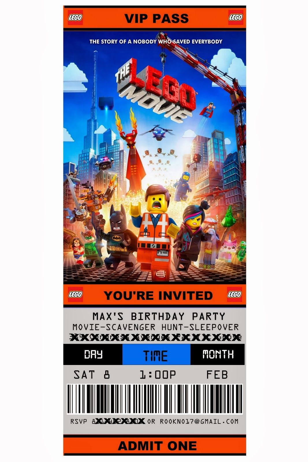 Free Printable Ticket Style Party Invitations The Lego Movie Movie Themed Party Lego Party Invitations Movie Invitation