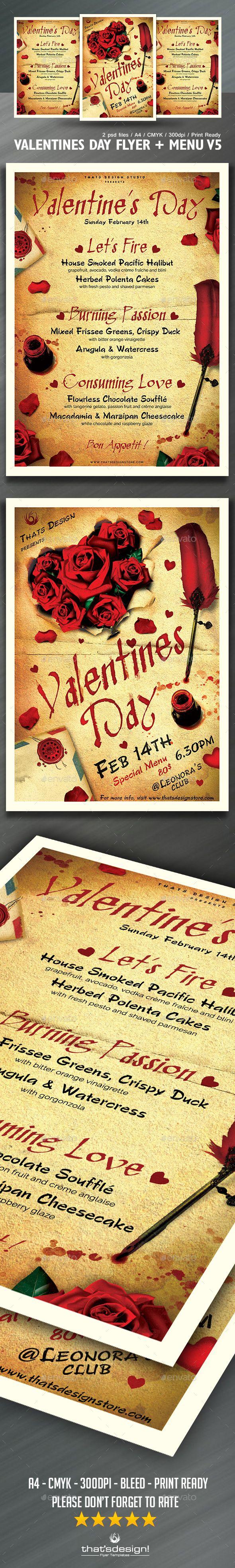 download free valentines day flyer menu bundle v5 day dinner rh pinterest com