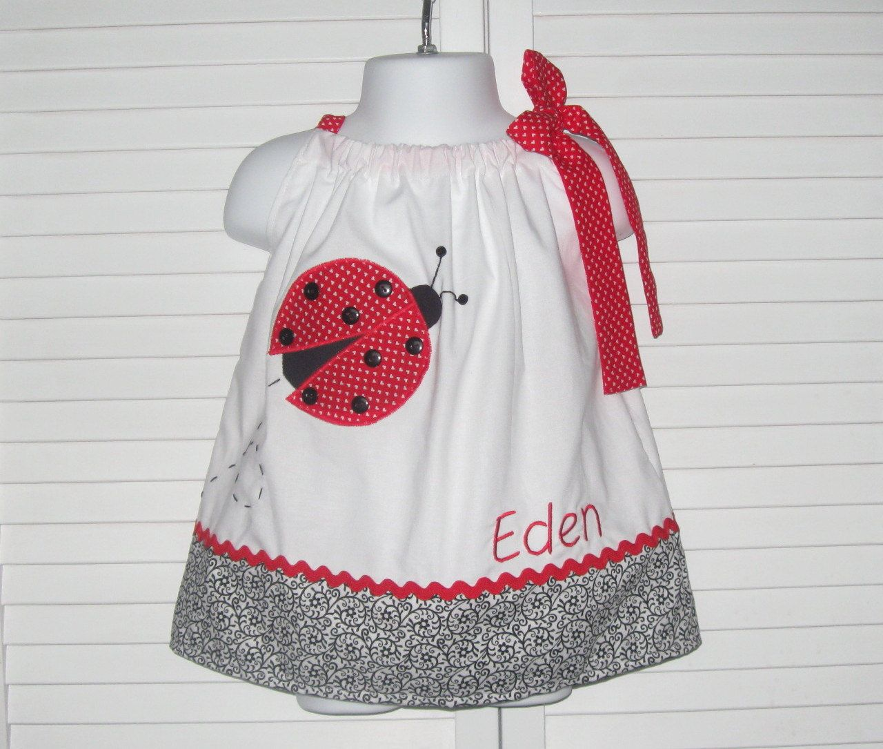 Personalized Ladybug Pillowcase Dress size 6 mo to girls size 6 ...
