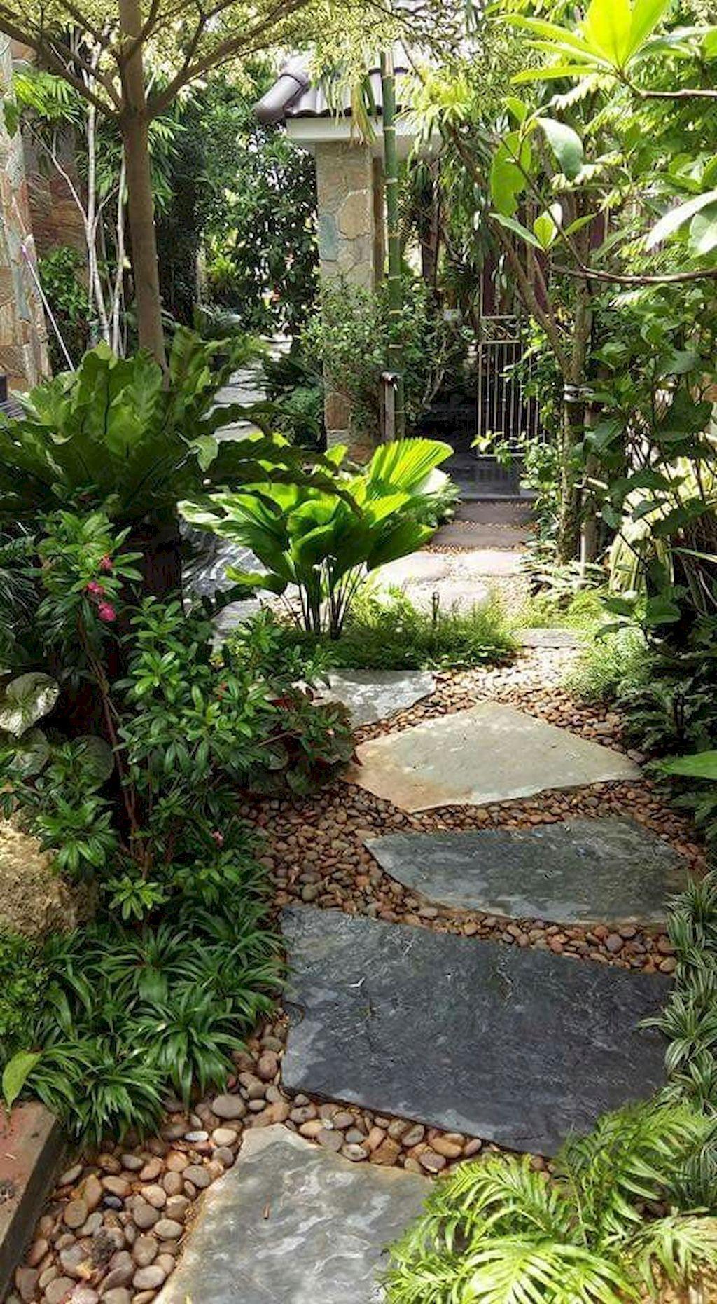 01 beautiful front yard pathway landscaping ideas is part of Pathway landscaping, Front yard garden, Shade garden, Backyard landscaping designs, Side garden, Rock garden - 01 beautiful front yard pathway landscaping ideas