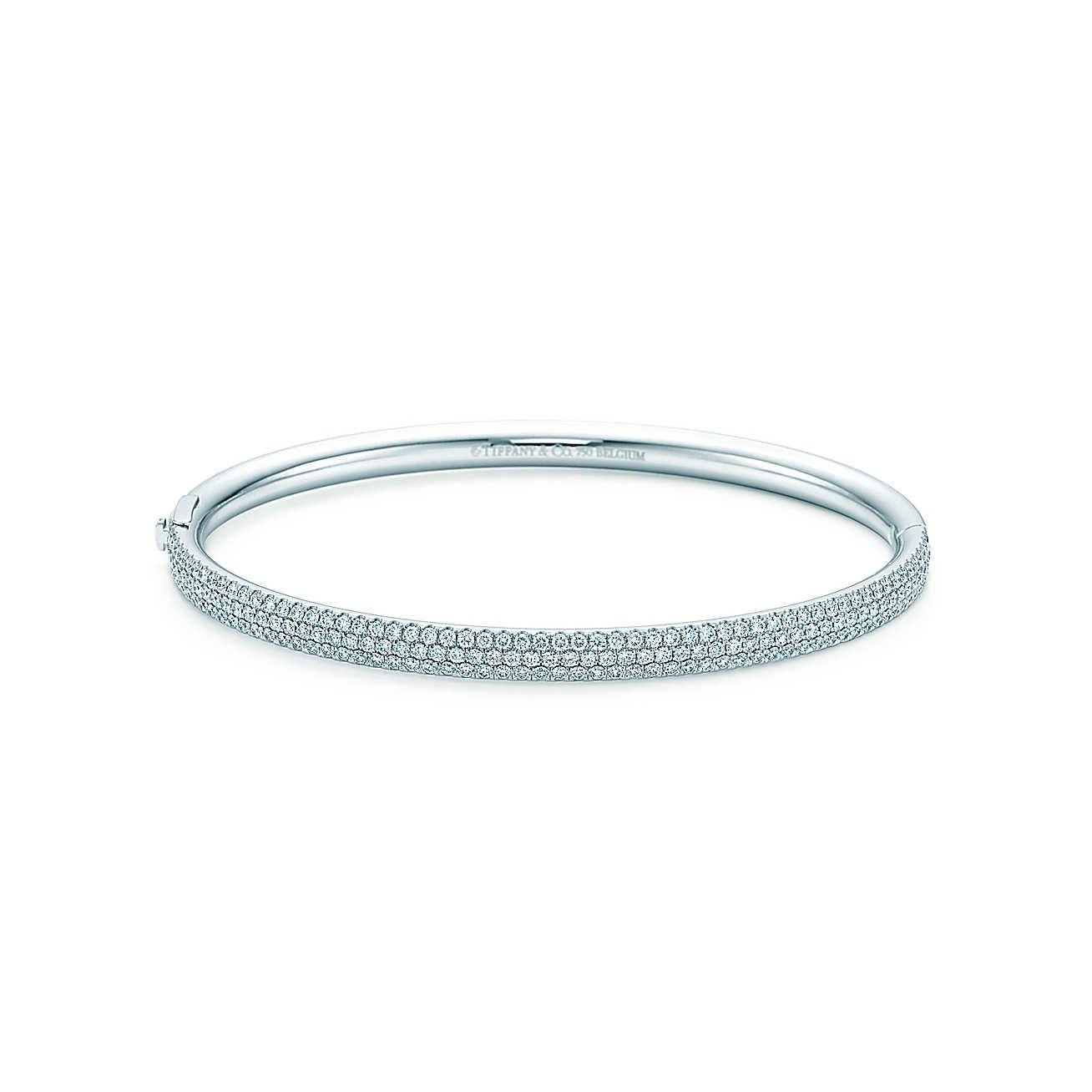 84ae0fbef Tiffany Metro three-row hinged bangle in 18k white gold with diamonds,  medium. | Tiffany & Co.