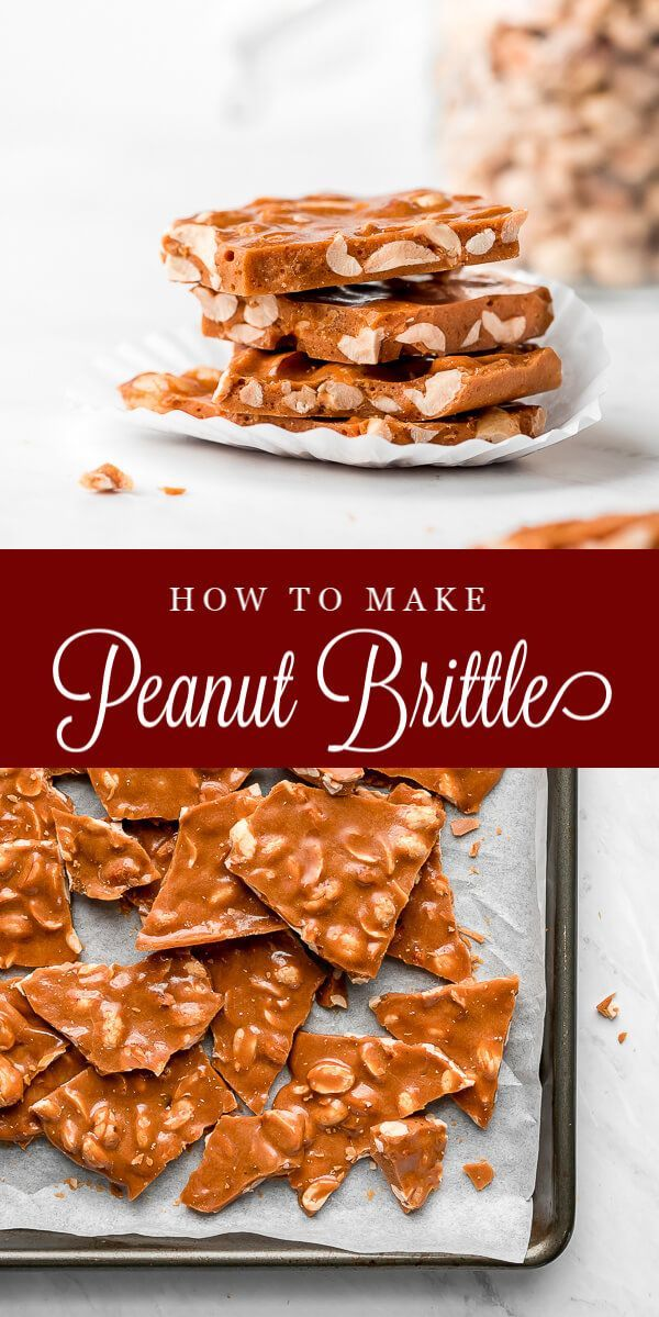 Peanut Brittle is a classic candy that no one can resist munching on. It's made with just 7 simple ingredients and lasts for weeks... if you can resist eating it all right away. #candy #christmastreats #toffee   GarnishandGlaze.com