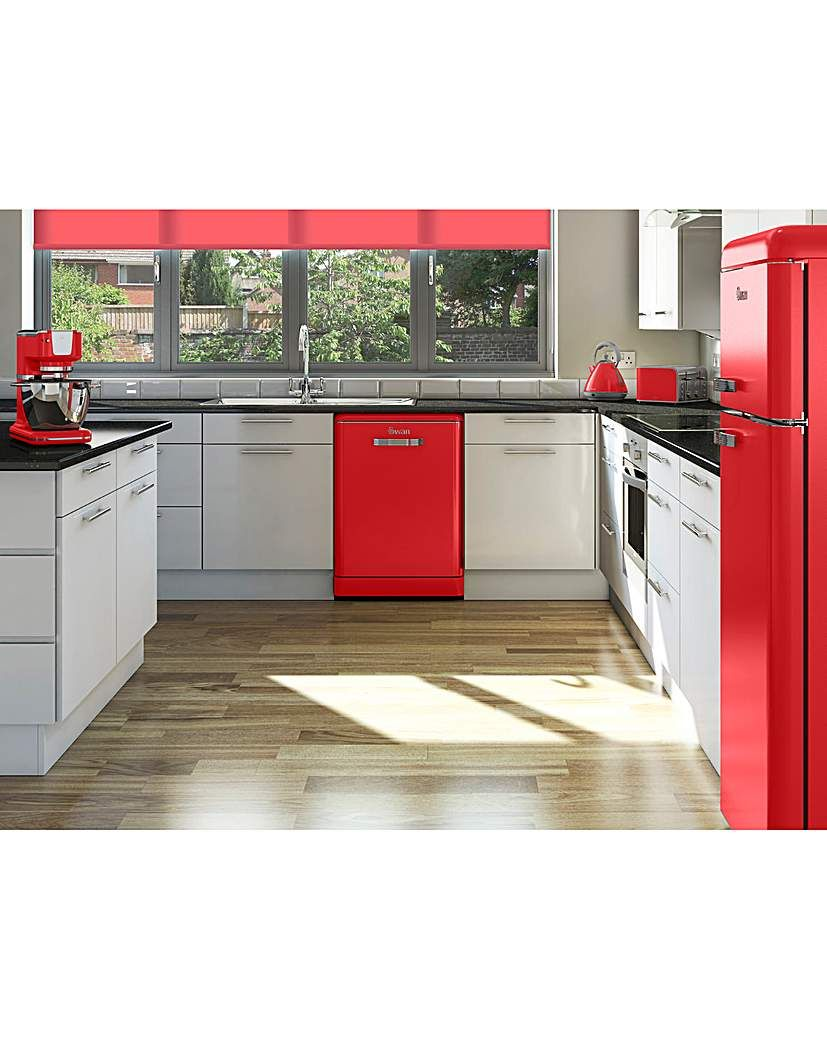 Swan Retro 12 Place Dishwasher Red Dishwasher, Kitchen