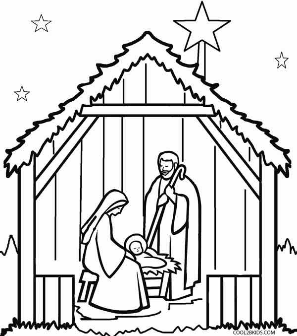 Nativity Scene Coloring Pages (With images) | Nativity ...